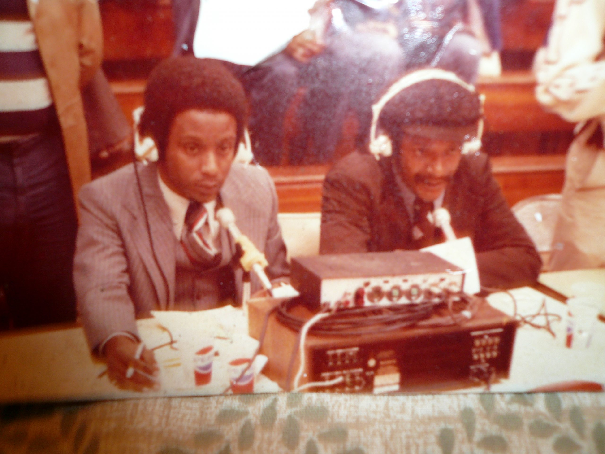 Gantt, right, doing play-by-play for FAMU basketball with Chris Stewart, left.