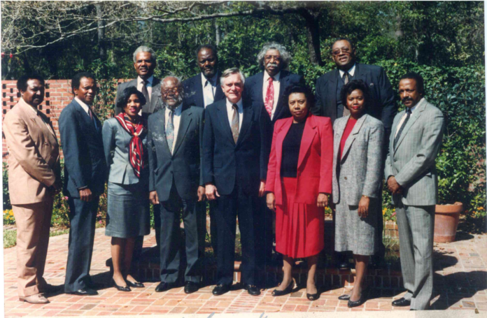 Gantt (far right) with former Florida Governor Lawton Chiles (center) and Florida Black newspaper publishers, all members of the powerful Southeast Black Publishers Association.