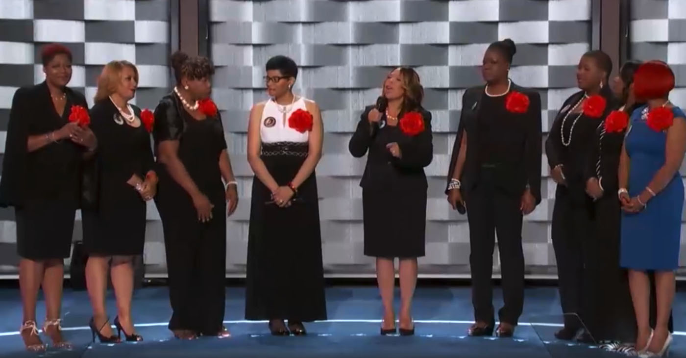 "Today, 76 percent of Americans recognize that racism is ""a big problem"" in this country, representing a 26 percent increase from just five years ago. Mothers of the Movement (pictured, from the 2016 Democratic National Convention) is a group of African American women whose children have been killed by police officers or by gun violence."