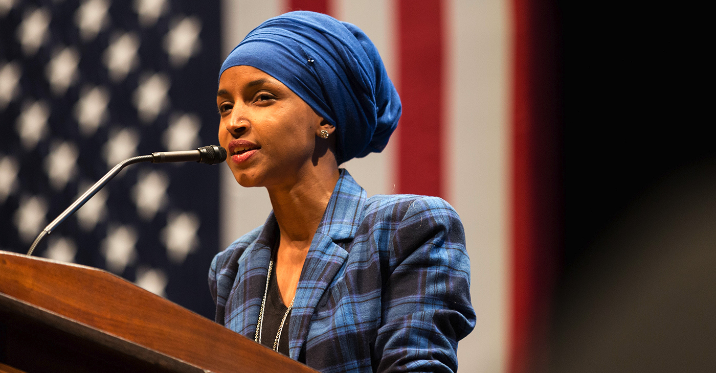 Representative, Ilhan Omar (D-MN) speaking at a Hillary for MN event at the U of MN, October 2018. (Photo: Lorie Shaull / Wikimedia Commons)