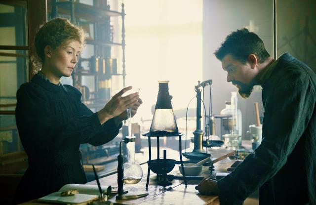 Rosamund Pike and Sam Riley in Radioactive.