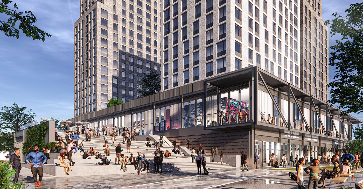 When completed in 2023, the entire Bronx Point project will consist of affordable apartments, retail, other amenities, and the museum that will occupy 2.8 acres of public space. (Photo: S9 Architecture)
