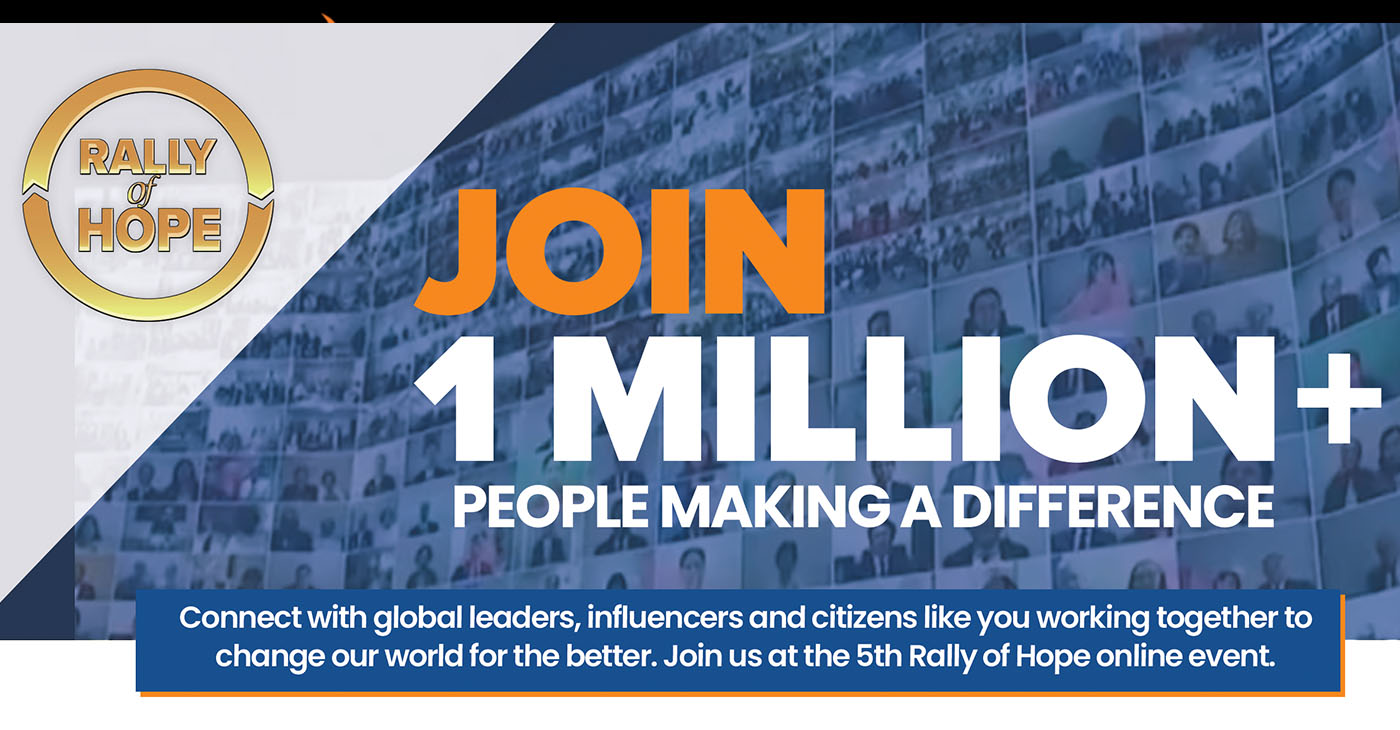 Join this free event to make a lasting impact in your communities and families that will ripple throughout the world. The Rally of Hope will offer translation in numerous languages. Register at http://www.rallyofhope.us.