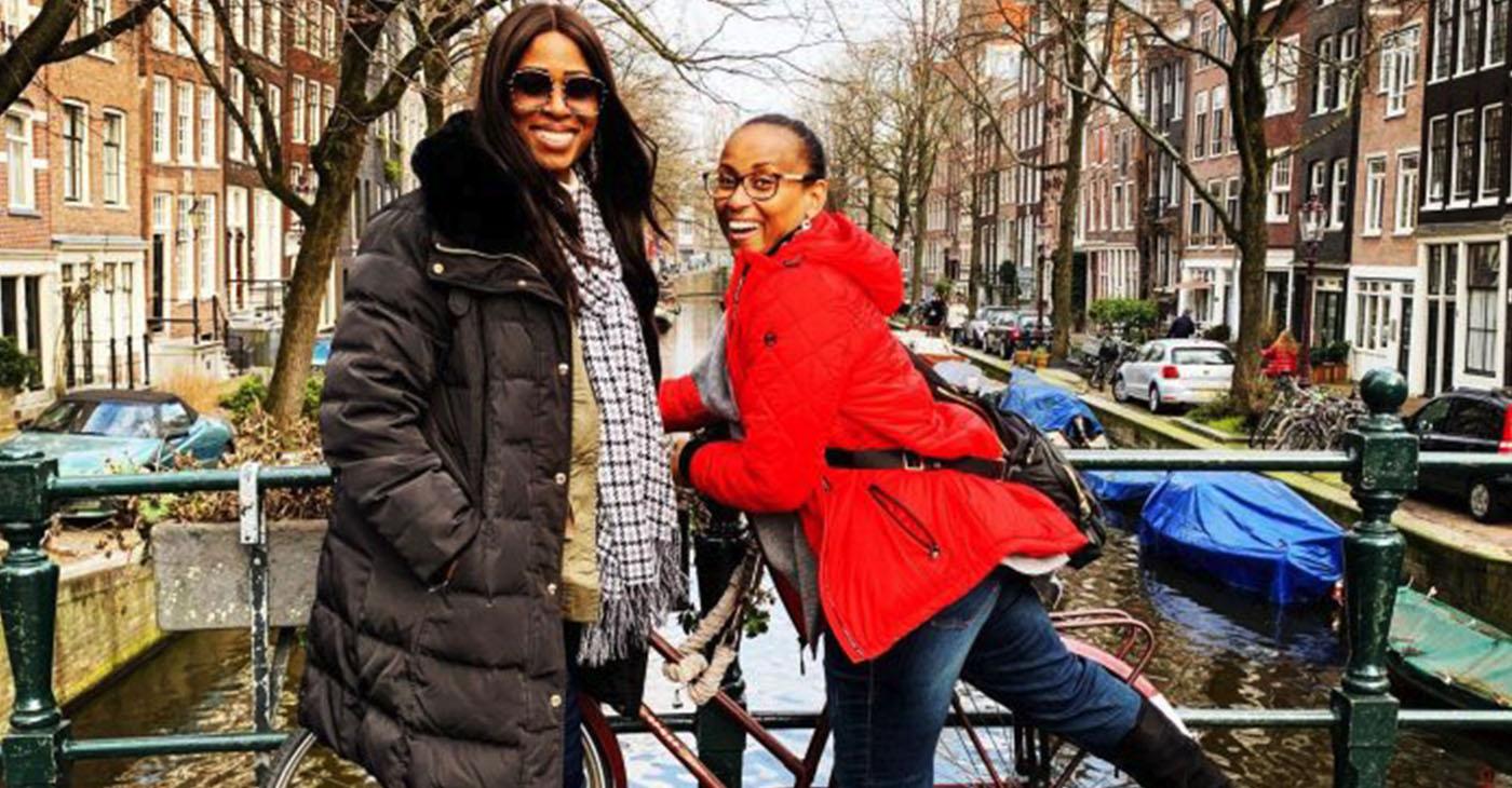 Dr. Nadeen White in Amsterdam with her friend, Karyn.