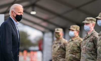 In the more than one-hour news conference, the President reiterated his desire to unite the country and hope for bipartisan cooperation. (Photo: President Joe Biden greets members of the military at a FEMA COVID-19 vaccination site Friday, Feb. 26, 2021, at NRG Stadium in Houston. White House/Adam Schultz)