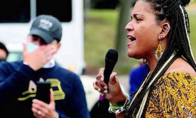 DANNIELLE BROWN, speaking at an event at Freedom Corner, March 11. Her hunger strike lasted 237 days. (Photo by J.L. Martello)