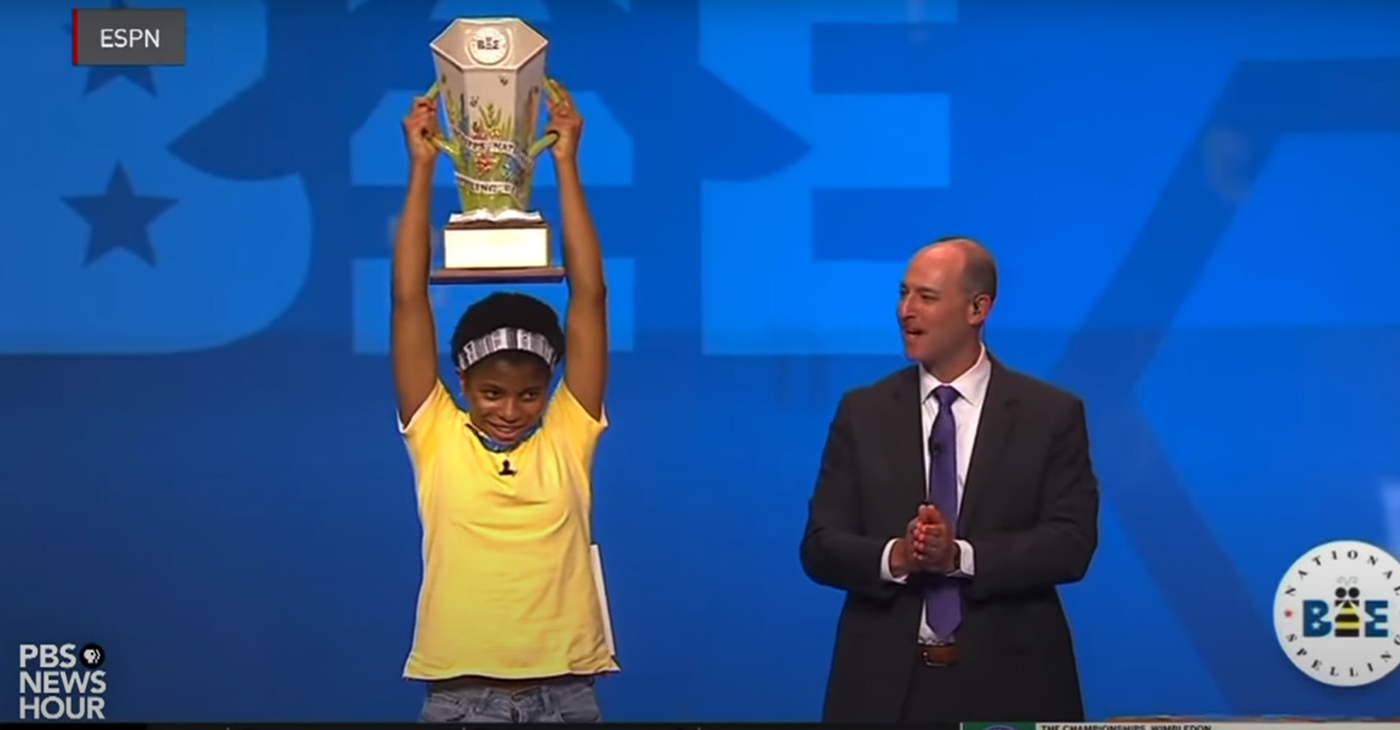 """Zaila Avant-garde made history Thursday as the first African American student to win the Scripps National Spelling Bee. The word she spelled correctly to win was """"Murraya,"""" which is a genus of tropical Asiatic and Australian trees. Her victory during the final round also means she is the first Black champion since Jody-Anne Maxwell in 1998. Lisa Desjardins reports on her life and accomplishments. (Photo: Screen Capture from PBS News Hour Video / YouTube)"""