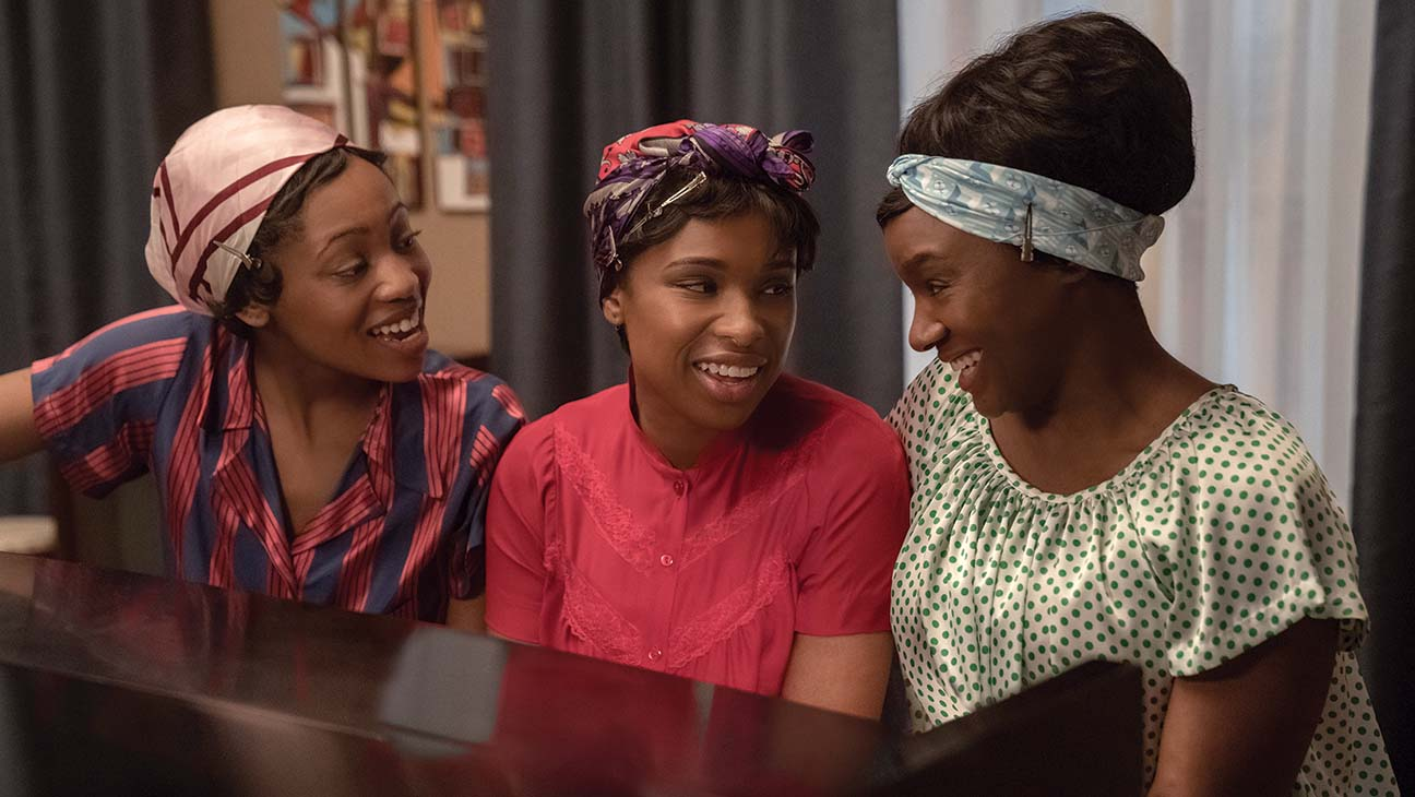 (l-r.) Hailey Kilgore stars as Carolyn Franklin, Jennifer Hudson as Aretha Franklin and Saycon Sengbloh as Erma Franklin in RESPECT, A Metro Goldwyn Mayer Pictures film Photo credit: Quantrell D. Colbert