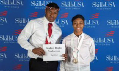 Ahmad Blake and Janeequa Blackmon-Wells won first place in audio/radio production. (Picture provided by Barack Obama School)